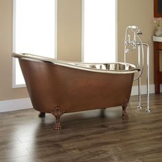 Sale-59-Norah-Copper-Clawfoot-Tub-Nickel-Int-No-Overflow-Finish-Flaws