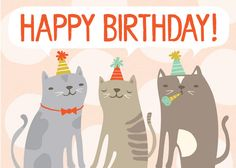 Cats. happy purrthday card от hillarybird на Etsy