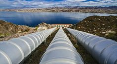 The Whitsett Intake Pumping Plant is the start of the 242-mile Colorado River Aqueduct, which transports water from Lake Havasu to Lake Mathews in Riverside County. This plant is the first of five pumping stations that carries water over mountains and through the desert, and is a major source of water for Southern California. (Irfan Khan / Los Angeles Times)