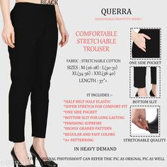 Trousers & Pants Fancy Graceful Women Women Trousers  Fabric: Cotton Lycra Sizes:  34 (Waist Size: 34 in, Length Size: 37 in)  36 (Waist Size: 36 in, Length Size: 37 in)  26 (Waist Size: 26 in, Length Size: 37 in)  38 (Waist Size: 38 in, Length Size: 37 in)  28 (Waist Size: 28 in, Length Size: 37 in)  40 (Waist Size: 40 in, Length Size: 37 in)  30 (Waist Size: 30 in, Length Size: 37 in)  32 (Waist Size: 32 in, Length Size: 37 in)  Country of Origin: India Sizes Available: 26, 28, 30, 32, 34, 36, 38, 40, 42   Catalog Rating: ★4.3 (490)  Catalog Name: Pretty Designer Women Women Trousers CatalogID_2701679 C79-SC1034 Code: 903-13711339-327