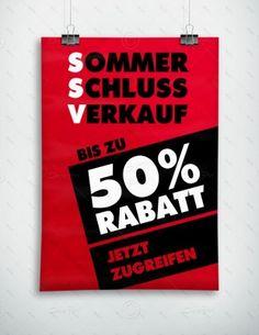 SSV - Sommerschlussverkauf - Plakat, rot, P-FP-0001A   Plakate   Werbedesigns   Despri