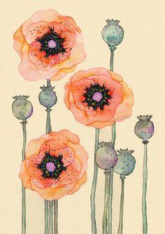 Shirley Poppies 12 x 16 von Buttermoths auf Etsy, £25.00