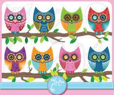 Owl ClipArt Owl clipart,Cute Colorful Owl Personal and Small Commercial Use,cards, invitation,scrapbooking and paper craft from YenzArtHaut Owl Crafts, Paper Crafts, Owl Theme Classroom, Preschool Classroom, Craft Sites, Welcome Banner, Cute Clipart, Cute Owl, Logo Sticker