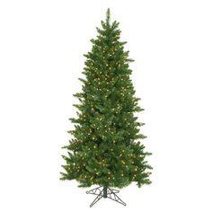 NorthlightSeasonal 6.5' Eastern Pine Slim Artificial Christmas Tree with 300 Clear Lights