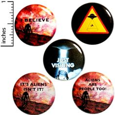 Funny Alien Button 5 Pack Backpack Pins Just Visiting I Believe Caution Aliens It's Aliens Isn't It Abduction Sci-Fi Humor Gift Set Funny Buttons, Cool Buttons, Aliens Funny, Bag Pins, School Gifts, Small Gifts, Unique Gifts, Ufo, Funny Gifts