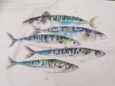 Watercolour Mackerel Fish / Sea life Art Print From Original Artwork Mackerel Fish, Spanish Mackerel, Sea Life Art, Sea Art, Watercolor Fish, Watercolor Paintings, Shabby Chic Antiques, Nautical Art, Fish Design
