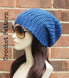 f3336588a0d CROCHET HAT PATTERN Instant Download Pdf - Manhattan Slouch Hat Womens  Slouchy Hat Pattern - Permiss