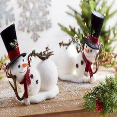 The Holiday Aisle 2 Piece Styrofoam Snowman Set Snowman Christmas Decorations, Snowman Crafts, Christmas Centerpieces, Christmas Snowman, Rustic Christmas, Christmas Projects, Simple Christmas, Holiday Crafts, Diy Xmas Decorations