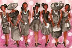 Fashion for Church Going | Church Lady Black Dress Painting by Janie McGee - Church Lady Black ...