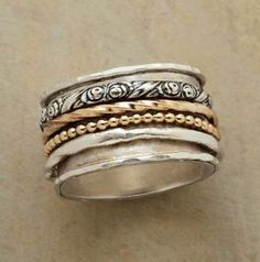 Sterling Silver Jewelry ANTHOLOGY RING -- Four rings spinning in a single volume, each with a story to tell. Two of the revolving rings match the sterling silver base band - Jewelry Box, Jewelry Accessories, Jewelry Design, Jewlery, Craft Jewelry, Jewelry Armoire, Glass Jewelry, Gemstone Jewelry, Jewelry Rings