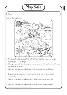 Printables Parts Of A Map Worksheet compass link and student on pinterest map skills worksheet