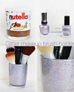 DIY Glitter makeup brush holder / Create your own makeup or jewelry boxes. Inexpensive and original! DIY Glitter makeup brush holder / Create your own makeup or jewelry boxes. Inexpensive and original! Diy Makeup Storage, Make Up Storage, Diy Storage, Storage Ideas, Makeup And Beauty Blog, Diy Beauty, Holographic Makeup, Diy Rangement, Rangement Makeup