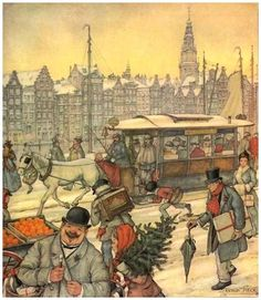 Anton Pieck was a Dutch painter and graphic artist. The work of Anton Pieck contains paintings in oil and watercolour, etchings. Illustration Noel, Christmas Illustration, Christmas Art, Vintage Christmas, Magical Christmas, Anton Pieck, Cityscape Art, Dutch Painters, Fine Art