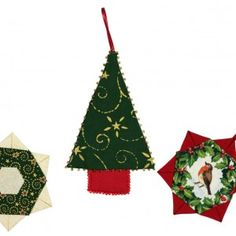 Make your own Patchwork Christmas Tree Decorations. Christmas Tree Decorations, Christmas Ornaments, Holiday Decor, Patchwork Patterns, Make Your Own, How To Make, Projects, Home Decor, Xmas Ornaments