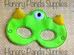 One Eyed Monster Felt Mask Embroidery, in the hoop mask, monster mask embroidery, monster costume