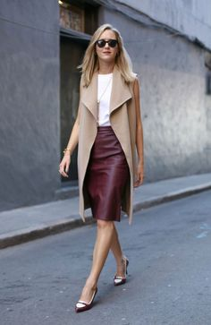 OFFICEWEAR[summer]: leather skirt; white top; beige waistcoat