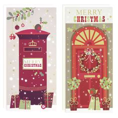Postbox and door recycled Christmas cards, pack of 12