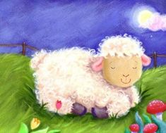 Feed My Sheep, Sheep Crafts, Cute Animal Illustration, Animal Illustrations, Sheep Art, Cute Sheep, Kids Canvas, Good Night Moon, Night Time