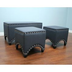 Add bold style to your living space with this set of three (3) studded bench ottomans. Perfect for a TV area or living room, this furniture will distinguish your decor style with fashion and elegance.