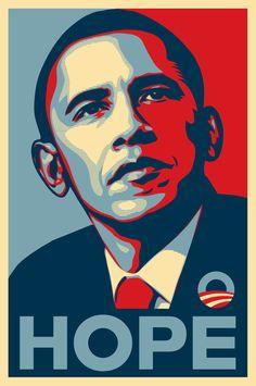 """Poster Hope para a campanha """"Yes, we can!"""" de Barack Obama 2008. Realizado por Shepard Fairey.   Utilizou recursos da """"pop art""""."""