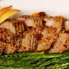 Peach-Chipotle Pork With Asparagus
