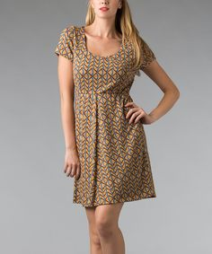 Look at this Gold Geometric Scoop Neck Dress on #zulily today!