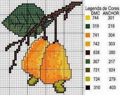 Resultado de imagem para graficos de frutas para bordar em ponto cruz