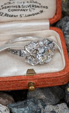 Circa 1930s Antique Engagement Ring Transitional Cut Diamond .88ct K/VS2 GIA. Sku AR17567.