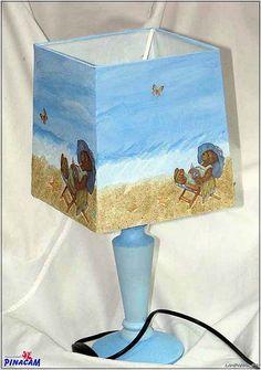 Pantalla decorada con papel decoupage y arenas en Manualidades Pinacam