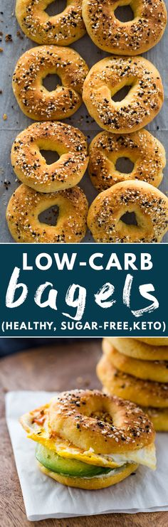 The BEST low-carb and Keto bagels made with fathead dough. They're chewy, soft and under carbs per bagel! Keto Bagels, Low Carb Bagels, Keto Foods, Keto Snacks, Diet Desserts, Low Carb Recipes, Diet Recipes, Cooking Recipes, Smoothie Recipes