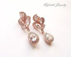 rose gold wedding earrings rose gold bridal earrings crystal