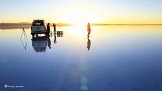 烏尤尼鹽湖日出團,要特別參加日出/日落團才會帶你找有水的地方噢!(日出日落都超美的~>\\\\<) #uyuni #bolivia #saltflat #sunrise #玻利維亞 #日出