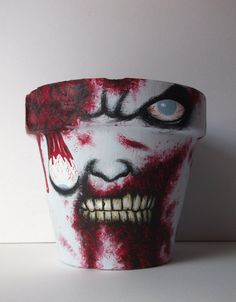 ZOMBIE Hand Painted Flower Pot by GingerPots on Etsy, $45.00