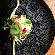 Salad of raw asparagus with smoked eel