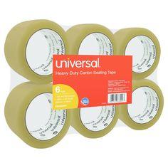 Universal General-Purpose Box Sealing Tape, 48mm x 54.8m, 3 Core, Tan, 6/Pack