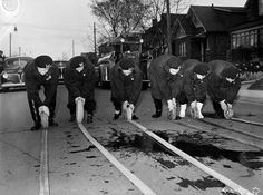On top of everything else, even the firefighting in Toronto during World War II featured some all-women crews. These Swansea women were with Air Raid Protection and perhaps the only women's auxiliary fire fighting group in Canada. They trained every Wednesday night. Air Raid, Horse Drawn, Swansea, Firefighting, Fire Dept, Interesting Stuff, World War Ii, Wwii, Amazing Women