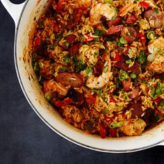 You can use kielbasa or any kind of dry-cured pork sausage, but spicy andouille gives this jambalaya a nice kick of heat.