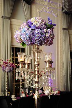 Purple wedding centerpiece idea; Featured photographer: Holli B Photography