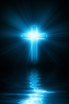 Blue glowing cross across the waters. Prophetic art.