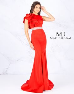 Red prom dress with ruffle shoulder. A trumpet skirt flows into a court train. The dress is cinched wth a crystal embellished belt Embellished Belt, Trumpet Skirt, Mac Duggal, Prom Dresses, Formal Dresses, Ruffle Sleeve, Pageant, Ruffles, Sexy