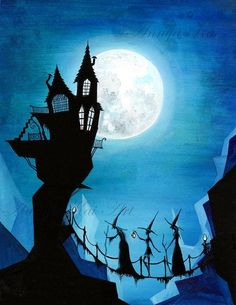 Witch Sisters and a Blue Moon  Halloween Dark door AnnyaKaiArt