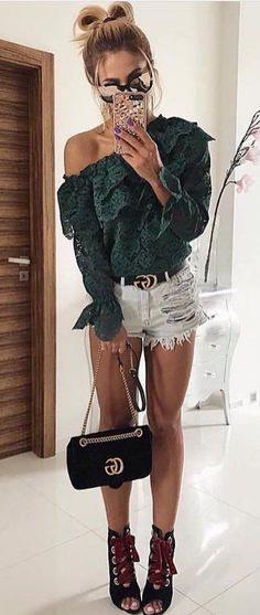 #fall #outfits women's green lace off-shoulder top and distressed daisy dukes with black lace up peep toe heels outfit