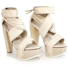 Pre-owned Joe's  Nude Diva 2 Platform Sandal (€39) ❤ liked on Polyvore featuring shoes, sandals, nude, leather sole shoes, zip up shoes, leather strap sandals, high heels sandals and high heel platform shoes