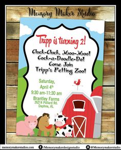 Farm Birthday Invitation, Petting Zoo Birthday Invitation, Any Age, Print your own, Digital Invitation, Farm Invitation, Horse Invitation by MemoryMakerStudio on Etsy
