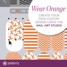 Design your own nails in orange with help from the Nail Art Studio from Jamberry Nails. Available online through my Jamberry Nails Independent Consultant site. http://liz957.jamberrynails.net/nas/ #diy