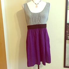 Sold Comfortable Summer Dress Great dress to wear during the hot weather ☀️Size: Large About 35 inches from top to bottom Colors: gray and purple dress Made in the USA of imported fabric stretchy material 90% cotton 3% spandex Contrast:  64% polyester 33% rayon3% spandex Dresses