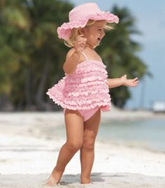 Pink ruffle-dipped tankini.  Brooklyn and Cheyenne.  Chasing Fireflies.  Stock #36380.  $49.00.  Must have.  Too cute!