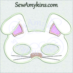 Bunny rabbit Mask in the hoop ITH applique Halloween design 2 SIZES for KIDS & ADULTS - SewAmykins