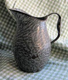 Vintage Antique Graniteware Gray Enamelware Pitcher ~ Speckled