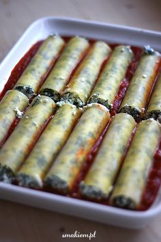 Cannelloni ze szpinakiem i ricotta Lunch Recipes, Vegetarian Recipes, Cannelloni Recipes, Blueberry Recipes, Breakfast Lunch Dinner, Oatmeal Recipes, Food Photo, Ricotta, Spinach